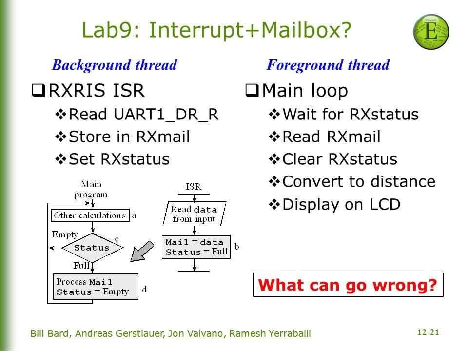 12-21 Bill Bard, Andreas Gerstlauer, Jon Valvano, Ramesh Yerraballi Lab9: Interrupt+Mailbox.