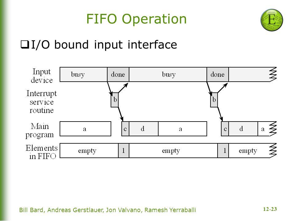 12-23 Bill Bard, Andreas Gerstlauer, Jon Valvano, Ramesh Yerraballi FIFO Operation  I/O bound input interface