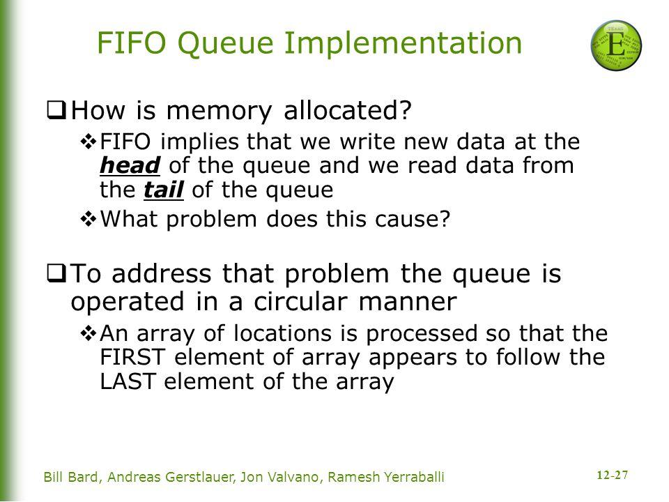 12-27 Bill Bard, Andreas Gerstlauer, Jon Valvano, Ramesh Yerraballi FIFO Queue Implementation  How is memory allocated.