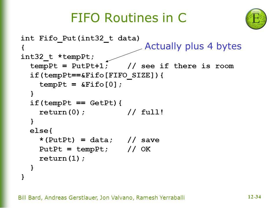 12-34 Bill Bard, Andreas Gerstlauer, Jon Valvano, Ramesh Yerraballi FIFO Routines in C int Fifo_Put(int32_t data) { int32_t *tempPt; tempPt = PutPt+1; // see if there is room if(tempPt==&Fifo[FIFO_SIZE]){ tempPt = &Fifo[0]; } if(tempPt == GetPt){ return(0); // full.