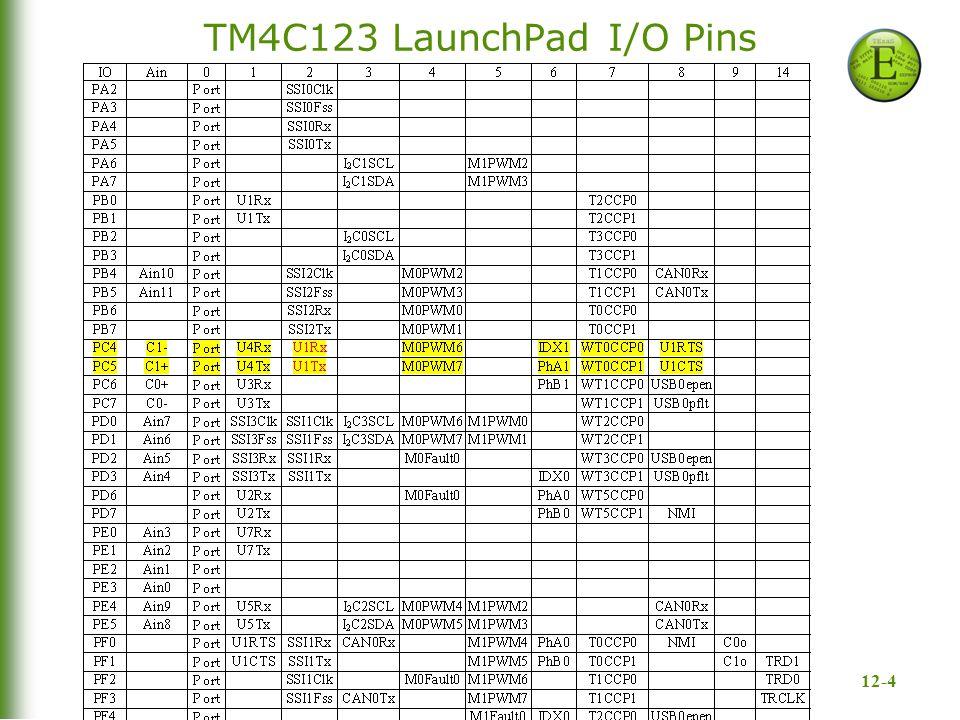 12-4 TM4C123 LaunchPad I/O Pins