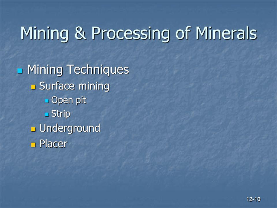 12-10 Mining & Processing of Minerals Mining Techniques Mining Techniques Surface mining Surface mining Open pit Open pit Strip Strip Underground Underground Placer Placer