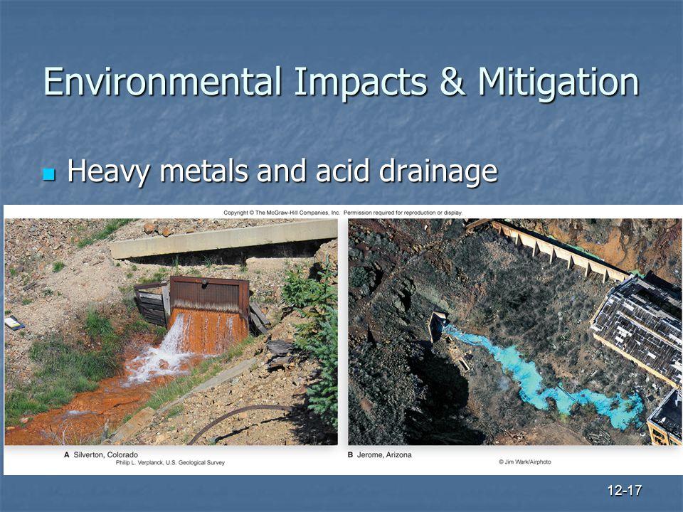 12-17 Environmental Impacts & Mitigation Heavy metals and acid drainage Heavy metals and acid drainage