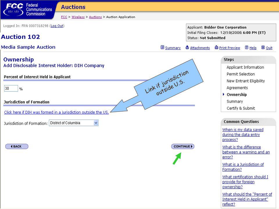 Link if jurisdiction outside U.S.