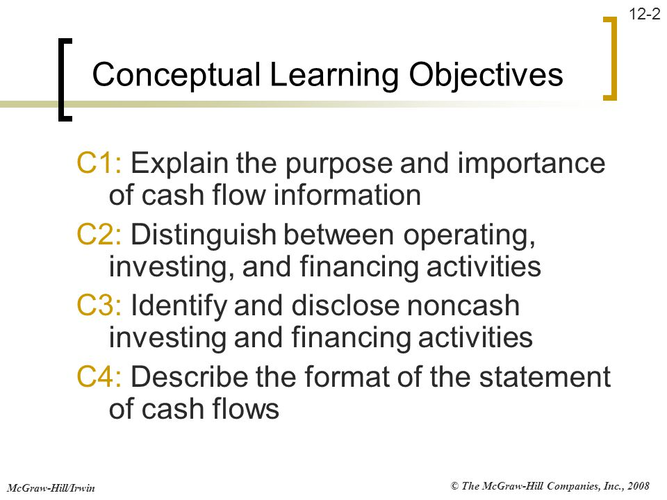 © The McGraw-Hill Companies, Inc., 2008 McGraw-Hill/Irwin 12-2 Conceptual Learning Objectives C1: Explain the purpose and importance of cash flow info