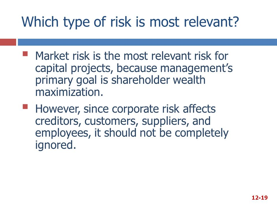 Which type of risk is most relevant?  Market risk is the most relevant risk for capital projects, because management's primary goal is shareholder we