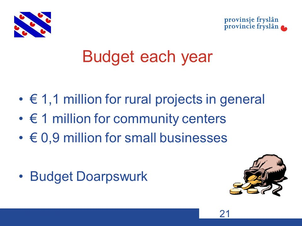 10-11-12VDP s21 Budget each year € 1,1 million for rural projects in general € 1 million for community centers € 0,9 million for small businesses Budget Doarpswurk