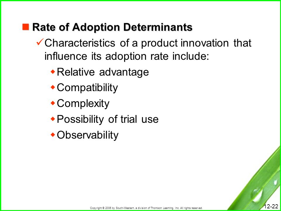 Copyright © 2006 by South-Western, a division of Thomson Learning, Inc. All rights reserved. 12-22 Rate of Adoption Determinants Rate of Adoption Dete