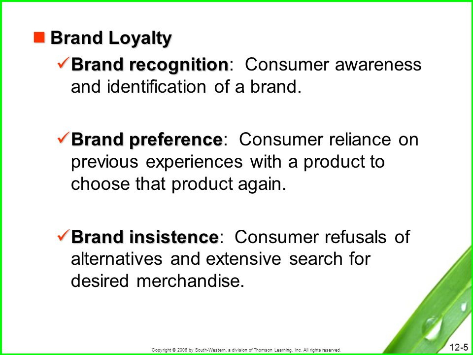 Copyright © 2006 by South-Western, a division of Thomson Learning, Inc. All rights reserved. 12-5 Brand Loyalty Brand Loyalty Brand recognition Brand