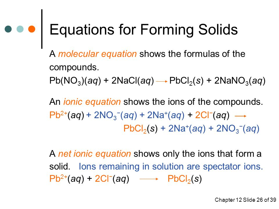 Chapter 12 Slide 26 of 39 Equations for Forming Solids A molecular equation shows the formulas of the compounds.