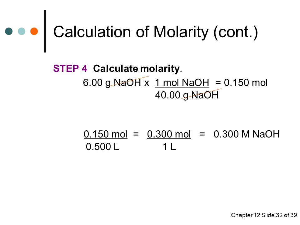 Chapter 12 Slide 32 of 39 STEP 4 Calculate molarity.