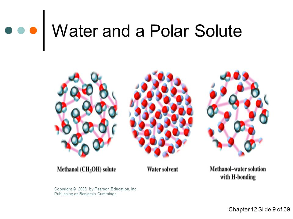Chapter 12 Slide 9 of 39 Water and a Polar Solute Copyright © 2008 by Pearson Education, Inc.
