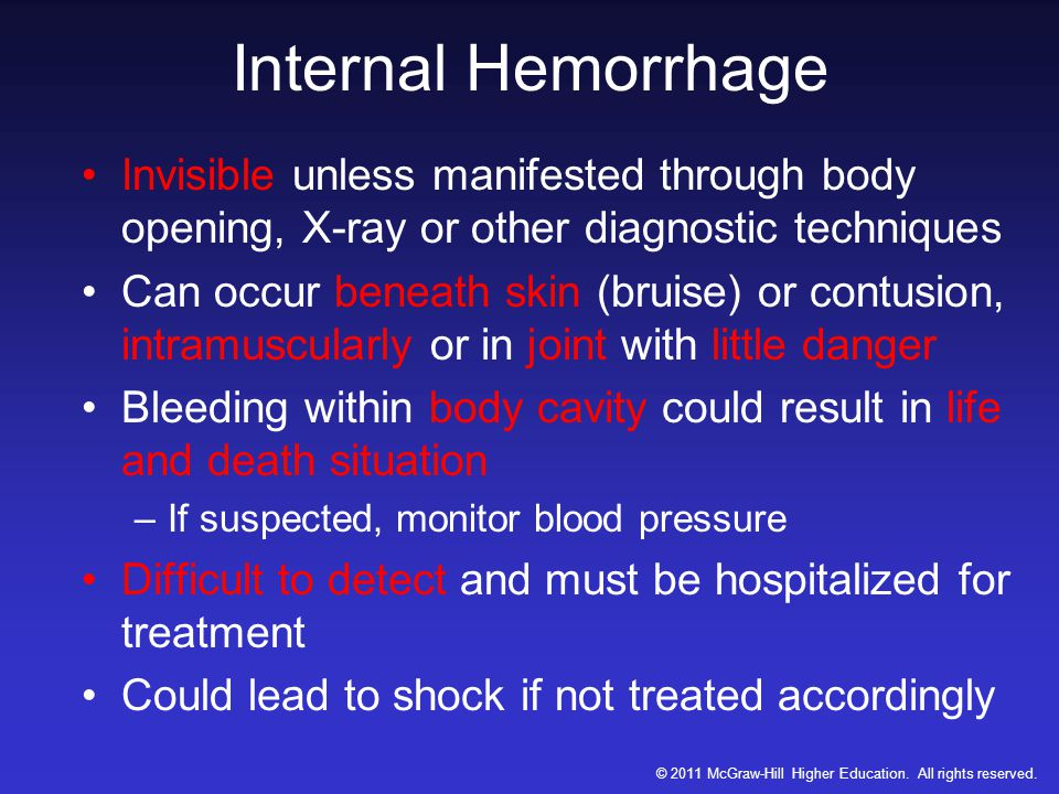 Internal Hemorrhage Invisible unless manifested through body opening, X-ray or other diagnostic techniques Can occur beneath skin (bruise) or contusion, intramuscularly or in joint with little danger Bleeding within body cavity could result in life and death situation –If suspected, monitor blood pressure Difficult to detect and must be hospitalized for treatment Could lead to shock if not treated accordingly © 2011 McGraw-Hill Higher Education.
