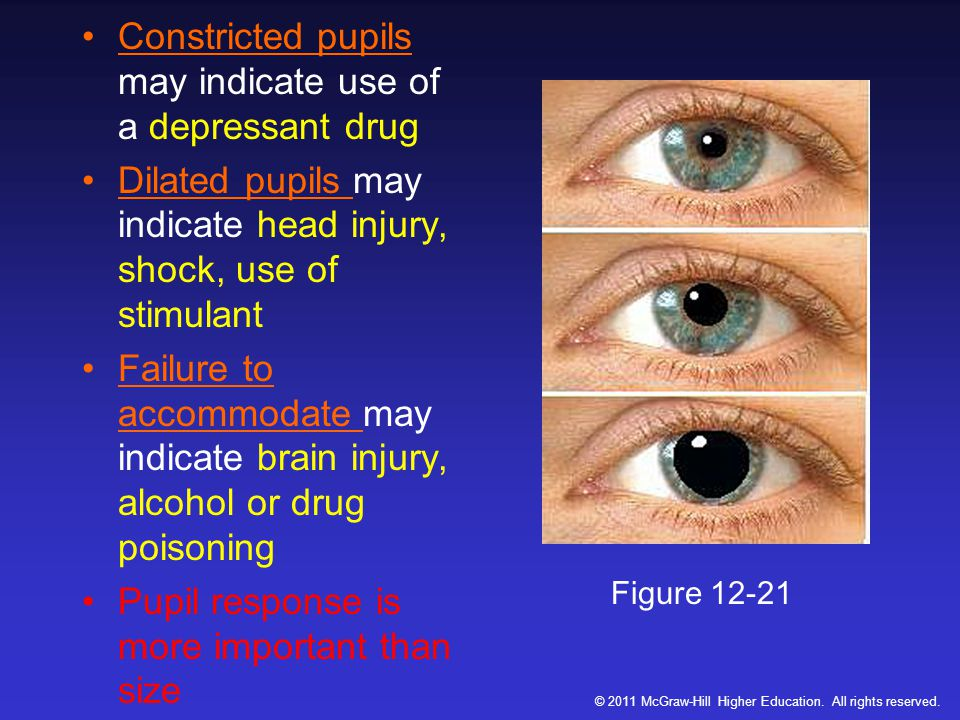 Constricted pupils may indicate use of a depressant drug Dilated pupils may indicate head injury, shock, use of stimulant Failure to accommodate may indicate brain injury, alcohol or drug poisoning Pupil response is more important than size Figure 12-21 © 2011 McGraw-Hill Higher Education.