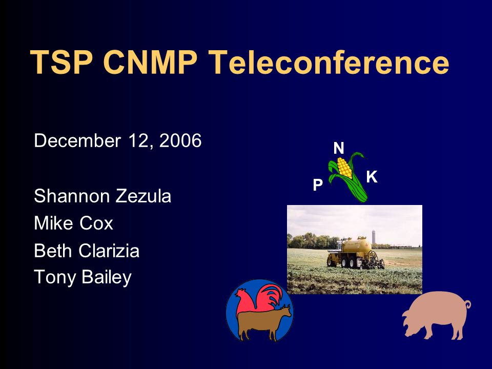 TSP CNMP Teleconference December 12, 2006 Shannon Zezula Mike Cox Beth Clarizia Tony Bailey N K P