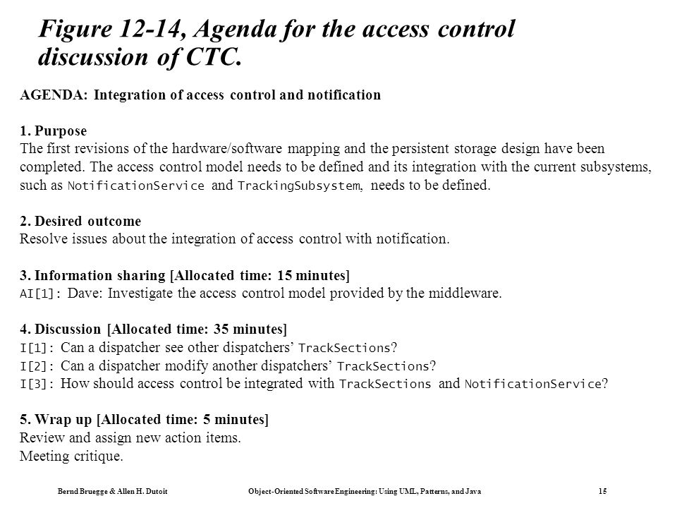 Bernd Bruegge & Allen H. Dutoit Object-Oriented Software Engineering: Using UML, Patterns, and Java 15 AGENDA: Integration of access control and notif