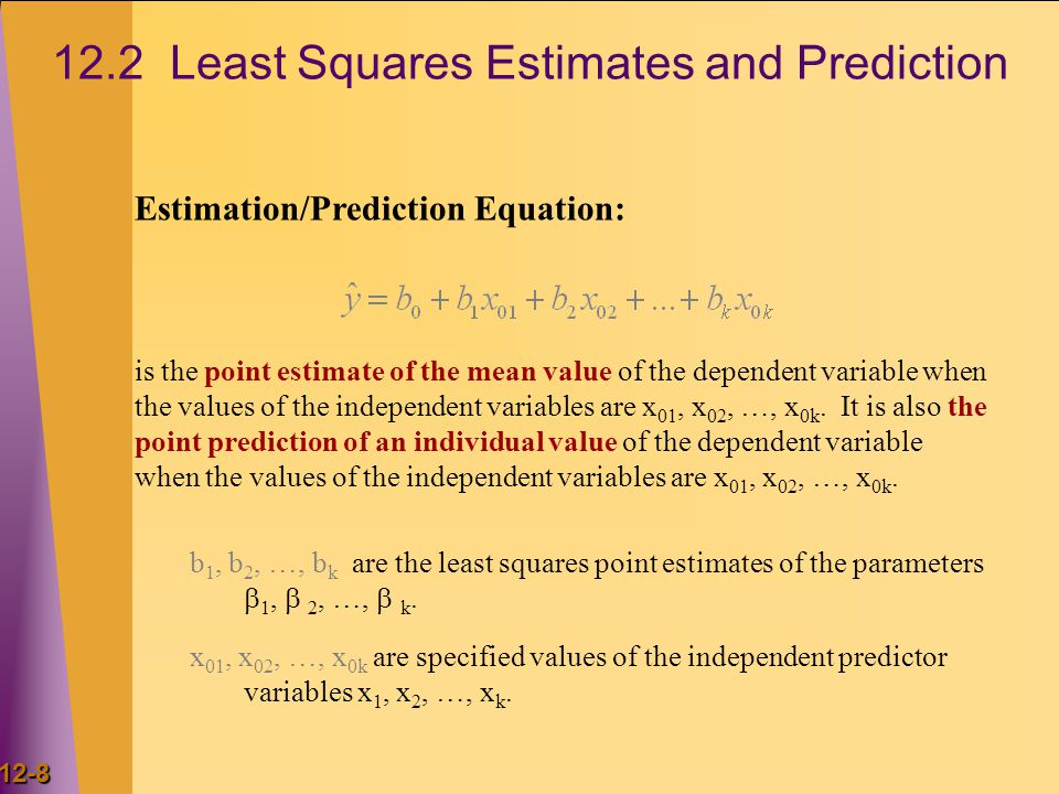 12-8 12.2 Least Squares Estimates and Prediction Estimation/Prediction Equation: b 1, b 2, …, b k are the least squares point estimates of the parameters  1,  2, …,  k.