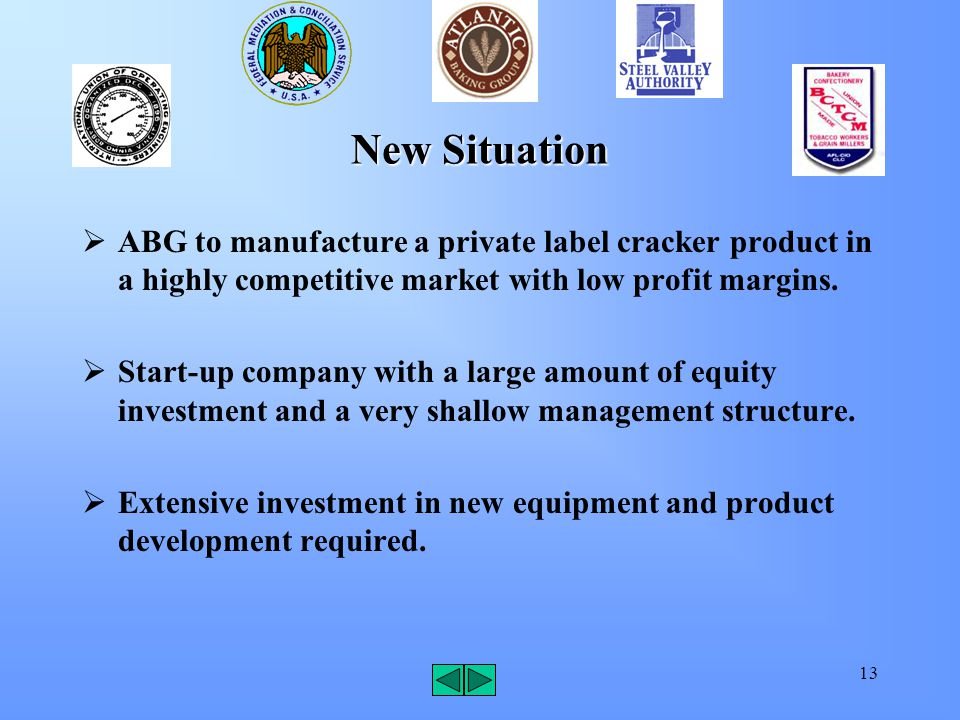 13 New Situation  ABG to manufacture a private label cracker product in a highly competitive market with low profit margins.