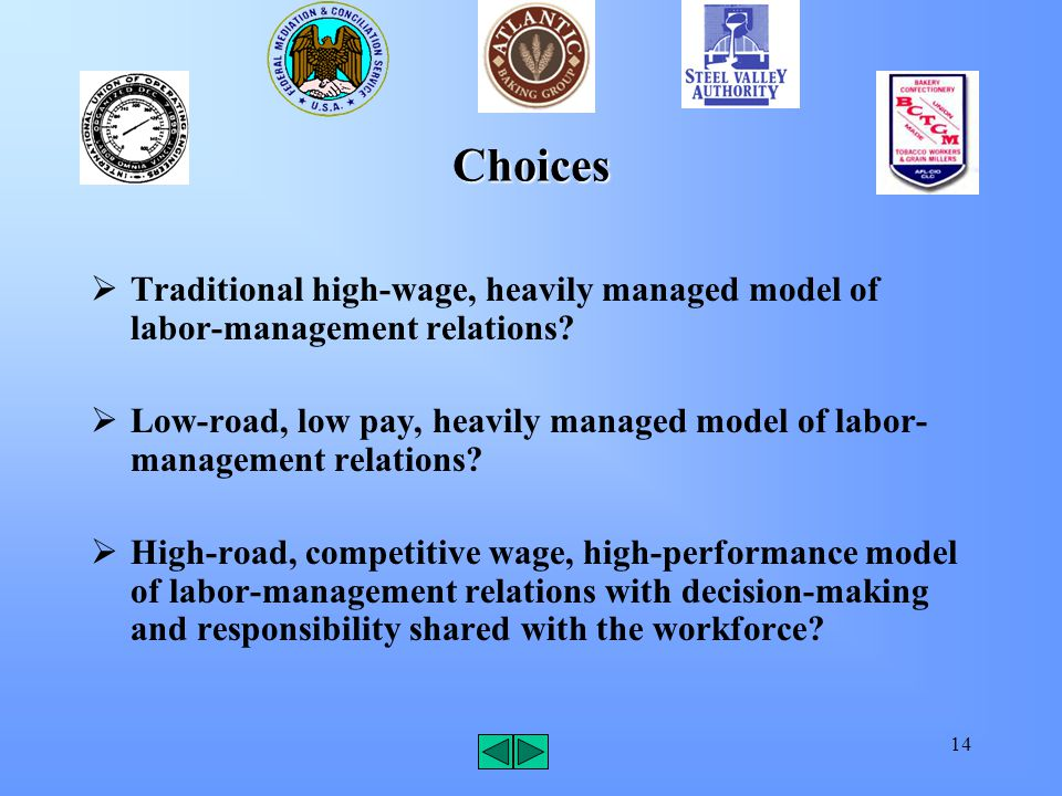 14 Choices  Traditional high-wage, heavily managed model of labor-management relations.