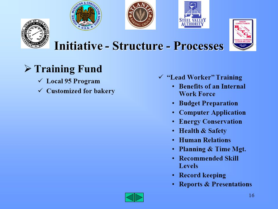 16 Initiative - Structure - Processes  Training Fund Local 95 Program Customized for bakery Lead Worker Training Benefits of an Internal Work Force Budget Preparation Computer Application Energy Conservation Health & Safety Human Relations Planning & Time Mgt.