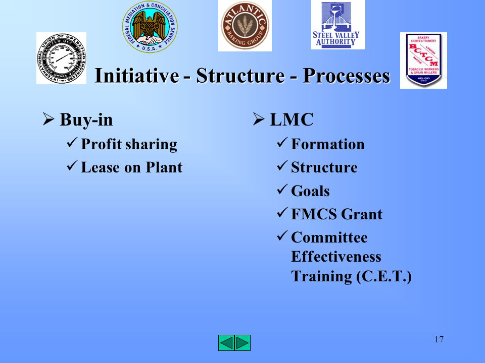 17 Initiative - Structure - Processes  Buy-in Profit sharing Lease on Plant  LMC Formation Structure Goals FMCS Grant Committee Effectiveness Traini