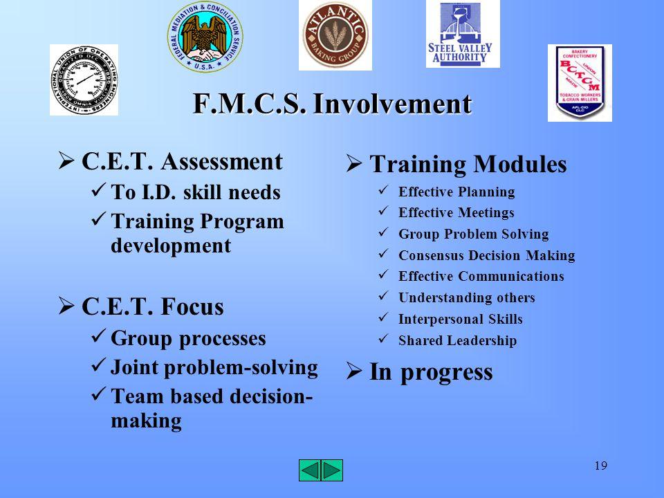 19 F.M.C.S. Involvement  C.E.T. Assessment To I.D.