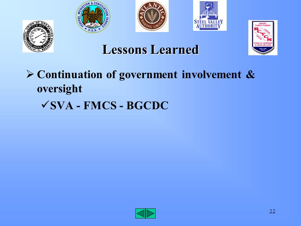 22 Lessons Learned  Continuation of government involvement & oversight SVA - FMCS - BGCDC