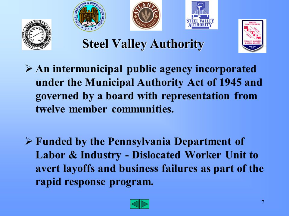 7 Steel Valley Authority  An intermunicipal public agency incorporated under the Municipal Authority Act of 1945 and governed by a board with represe