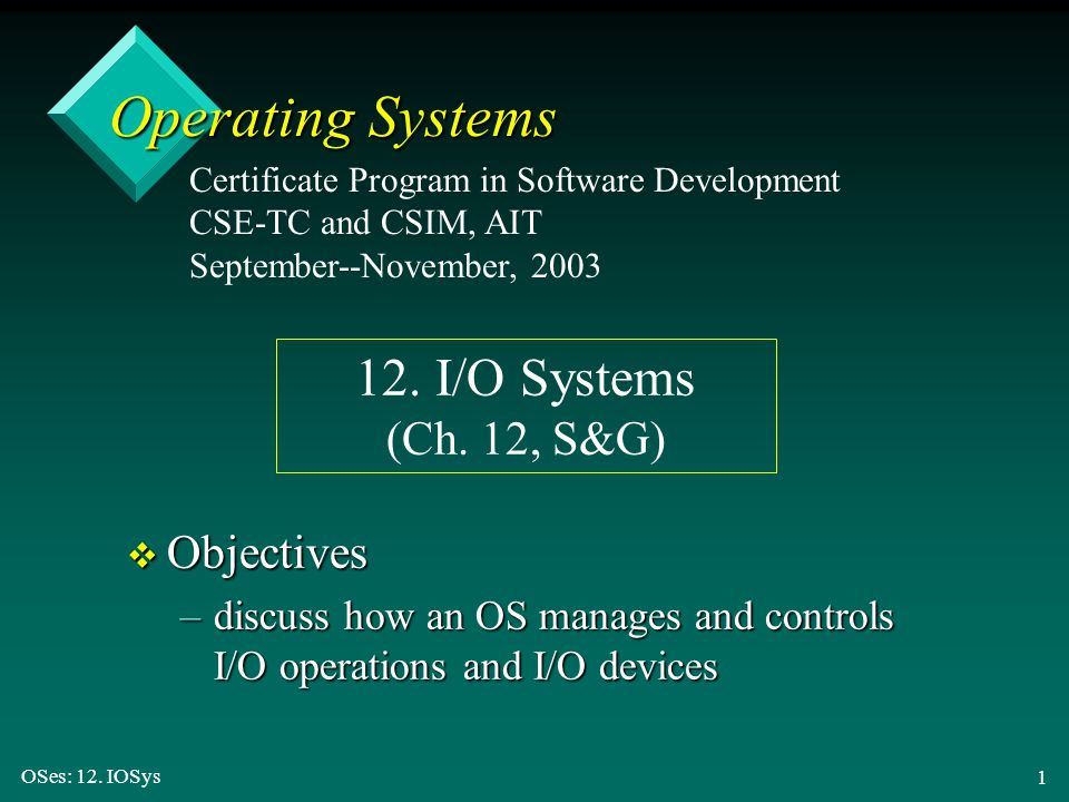 OSes: 12.IOSys 62 Ways to Improve I/O Efficiency v Reduce the number of context switches.