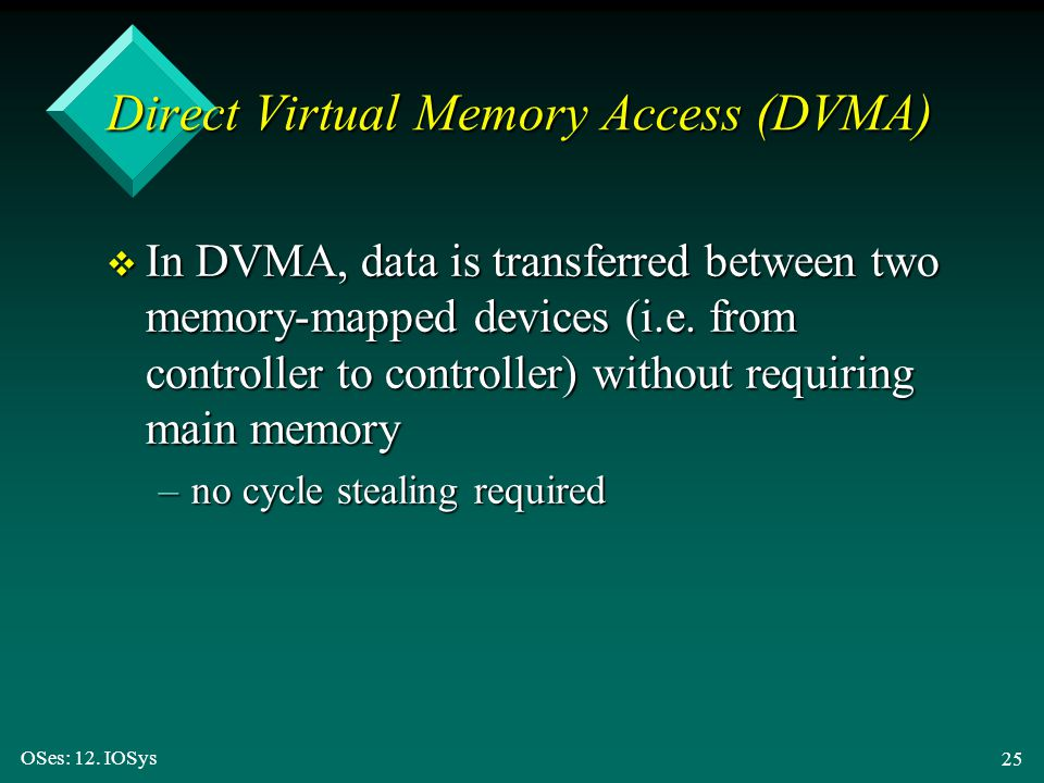 OSes: 12. IOSys 25 Direct Virtual Memory Access (DVMA) v In DVMA, data is transferred between two memory-mapped devices (i.e. from controller to contr