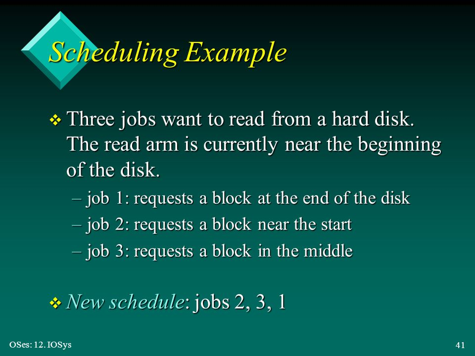 OSes: 12. IOSys 41 Scheduling Example v Three jobs want to read from a hard disk. The read arm is currently near the beginning of the disk. –job 1: re