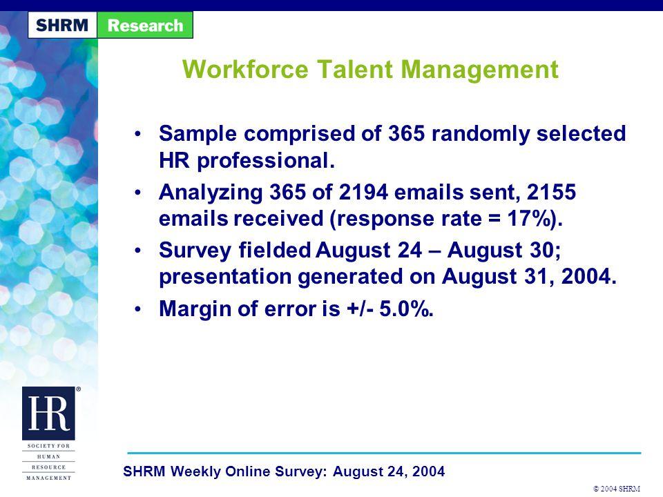© 2004 SHRM SHRM Weekly Online Survey: August 24, 2004 1.
