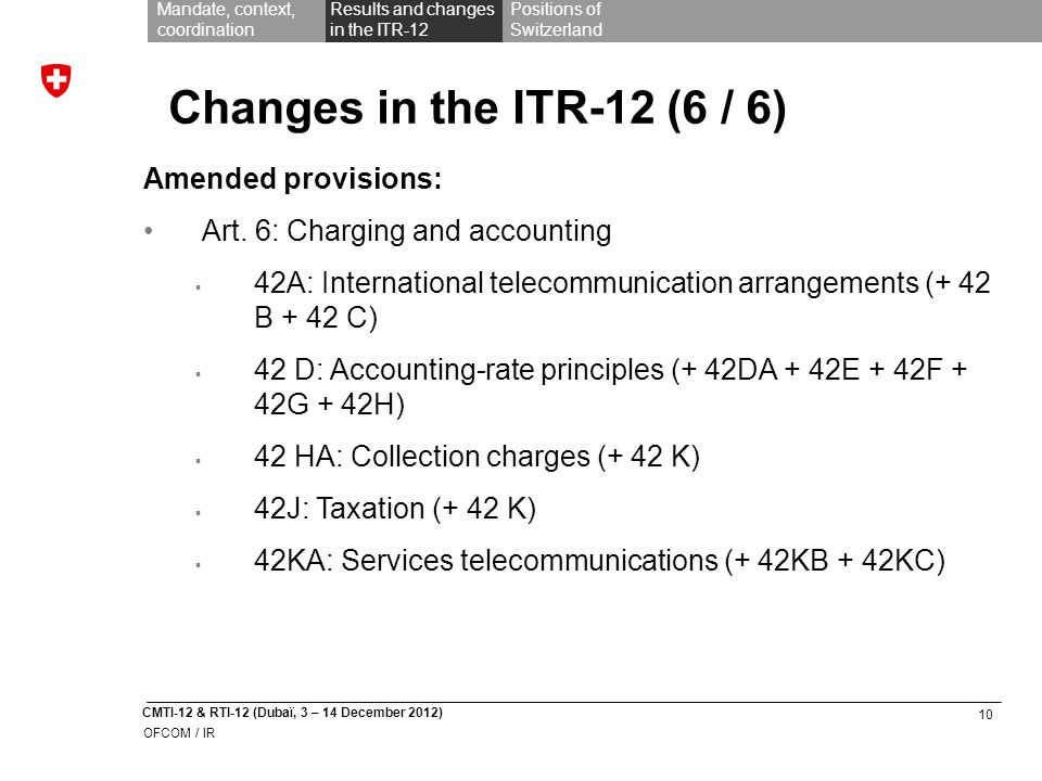 10 CMTI-12 & RTI-12 (Dubaï, 3 – 14 December 2012) OFCOM / IR Mandate, context, coordination Results and changes in the ITR-12 Positions of Switzerland Changes in the ITR-12 (6 / 6) Amended provisions: Art.