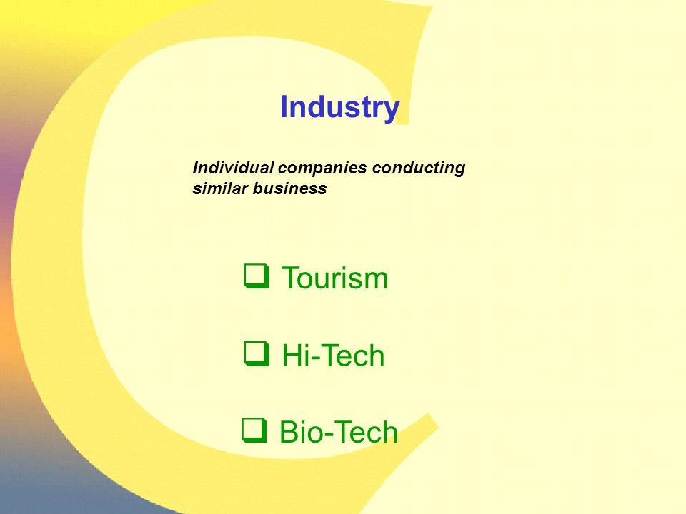 Industry Individual companies conducting similar business  Tourism  Hi-Tech  Bio-Tech