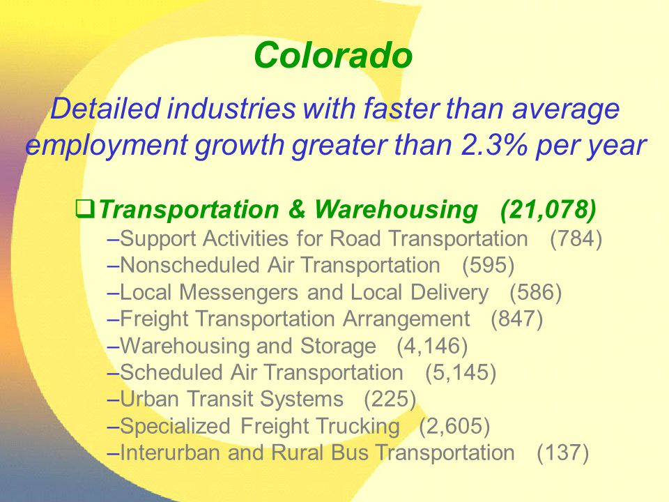 Colorado  Transportation & Warehousing (21,078) –Support Activities for Road Transportation (784) –Nonscheduled Air Transportation (595) –Local Messe