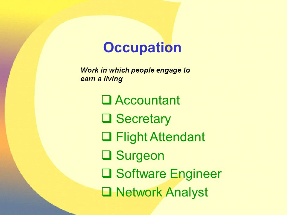 Occupation Work in which people engage to earn a living  Accountant  Secretary  Flight Attendant  Surgeon  Software Engineer  Network Analyst