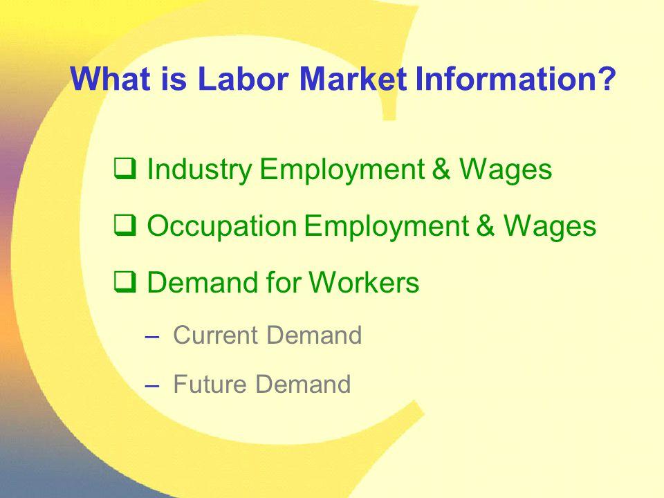 Web sites Colorado Labor Market Information http://www.coworkforce.com/lmi Occupational Outlook Handbook http://www.bls.gov/oco/ Career Guide to Industries http://www.bls.gov/oco/cg/ Occupational Outlook Quarterly http://www.bls.gov/opub/ooq/ooqhome.htm