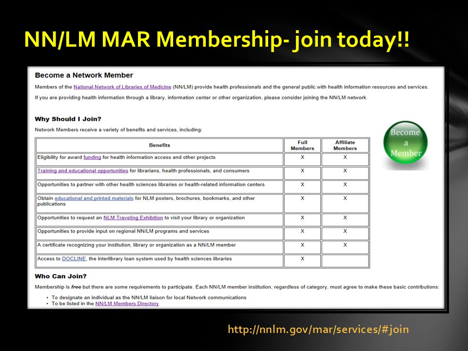 http://nnlm.gov/mar/services/#join NN/LM MAR Membership- join today!!