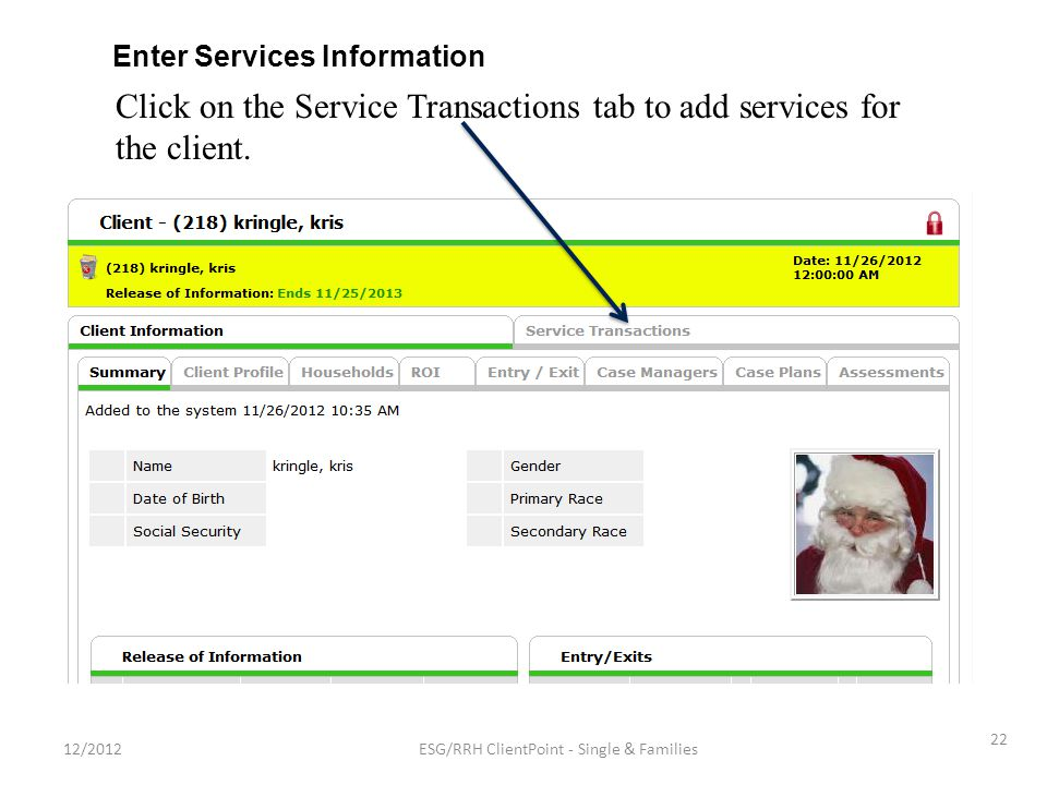 Click on the Service Transactions tab to add services for the client.