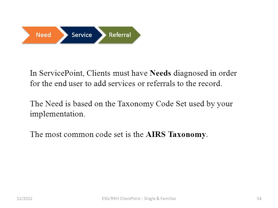 In ServicePoint, Clients must have Needs diagnosed in order for the end user to add services or referrals to the record.