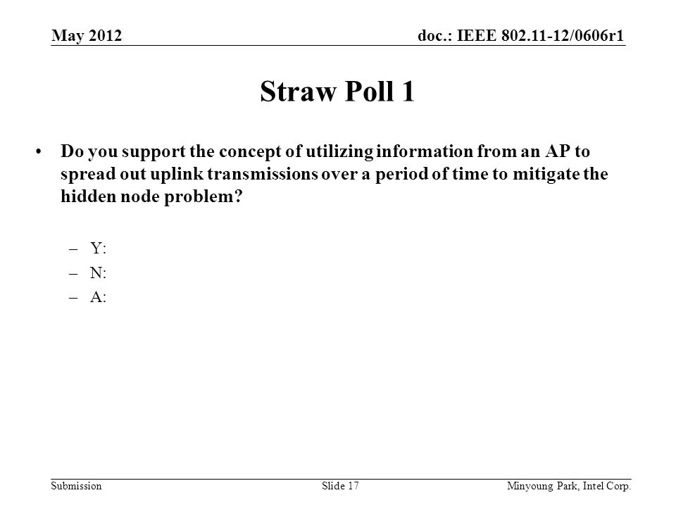 doc.: IEEE 802.11-12/0606r1 Submission Straw Poll 1 Do you support the concept of utilizing information from an AP to spread out uplink transmissions over a period of time to mitigate the hidden node problem.