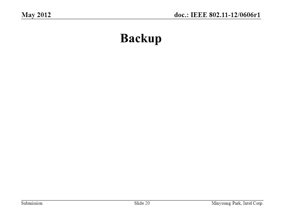 doc.: IEEE 802.11-12/0606r1 Submission Backup May 2012 Minyoung Park, Intel Corp.Slide 20
