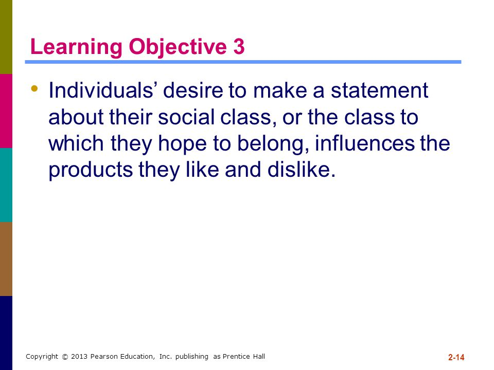 Learning Objective 3 Individuals' desire to make a statement about their social class, or the class to which they hope to belong, influences the produ
