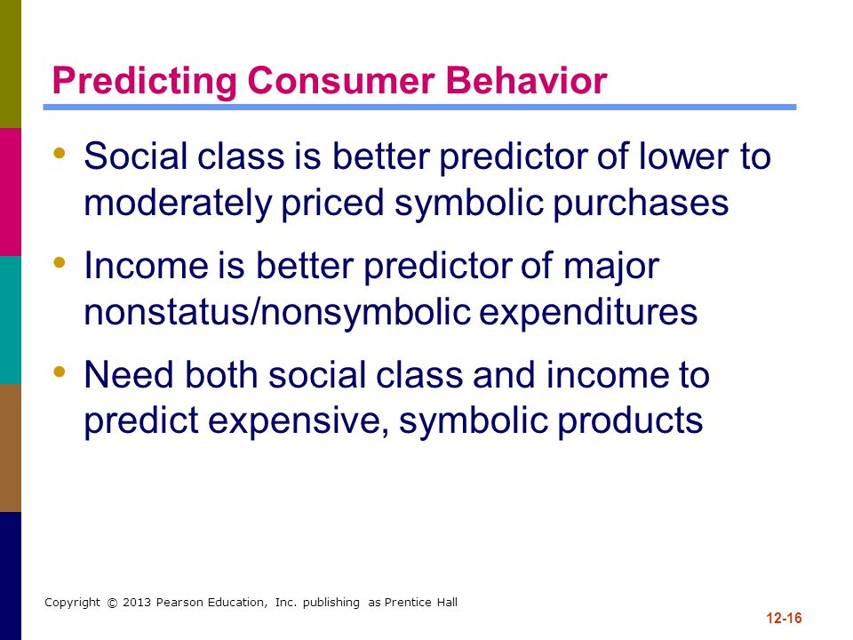 12-16 Copyright © 2013 Pearson Education, Inc. publishing as Prentice Hall Predicting Consumer Behavior Social class is better predictor of lower to m