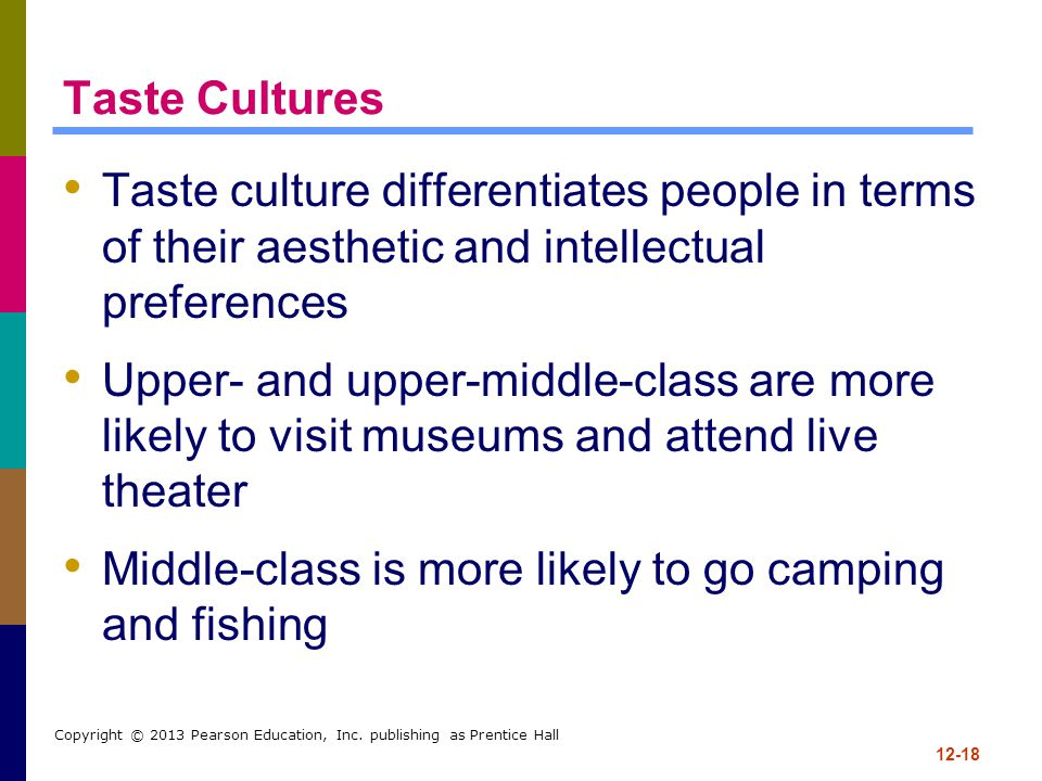 12-18 Copyright © 2013 Pearson Education, Inc. publishing as Prentice Hall Taste Cultures Taste culture differentiates people in terms of their aesthe
