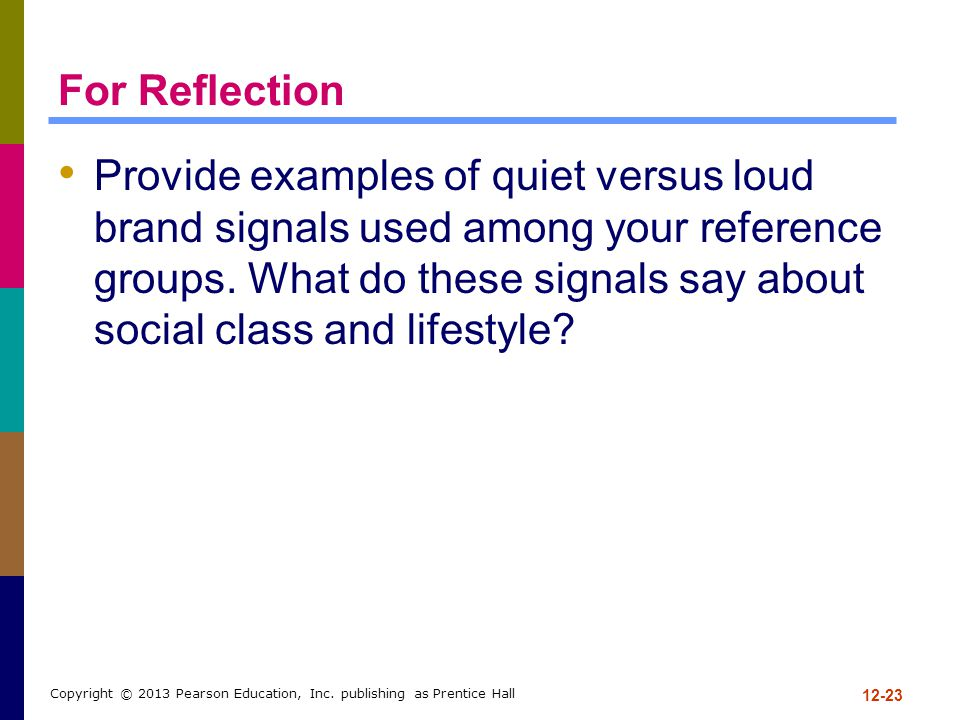 For Reflection Provide examples of quiet versus loud brand signals used among your reference groups. What do these signals say about social class and