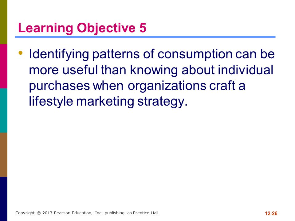 Learning Objective 5 Identifying patterns of consumption can be more useful than knowing about individual purchases when organizations craft a lifesty