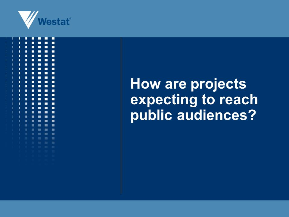 How are projects expecting to reach public audiences?