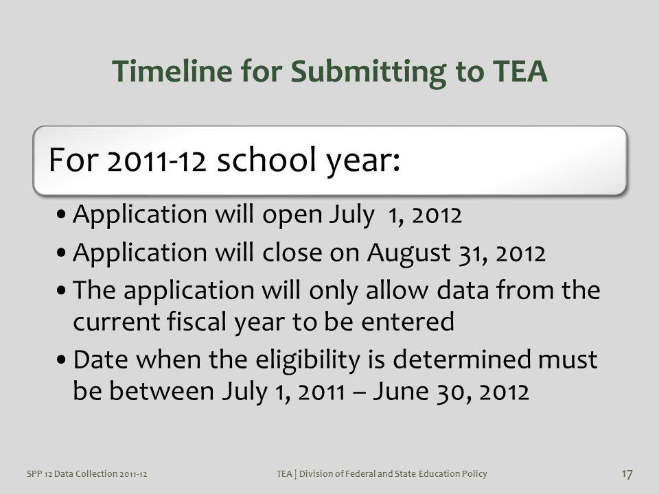 Timeline for Submitting to TEA For 2011-12 school year: Application will open July 1, 2012 Application will close on August 31, 2012 The application w