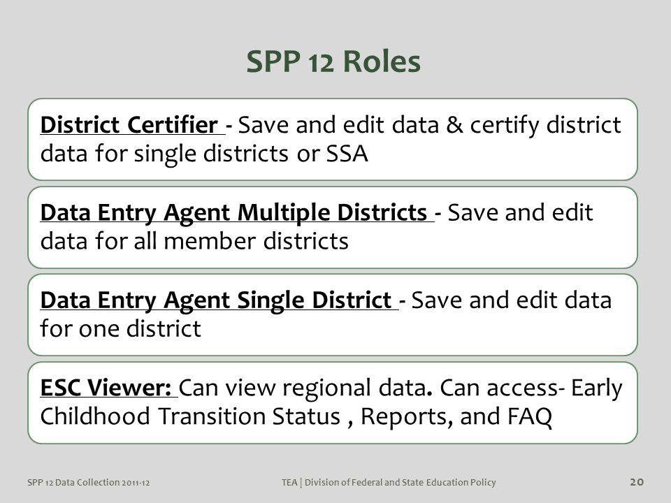 TEA | Division of Federal and State Education Policy 20 SPP 12 Roles District Certifier - Save and edit data & certify district data for single distri